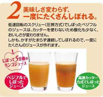 低速回転のスクリュー(圧搾方式)でしぼったベジフルのジュースはカッターを使わないため酸化も少なく、おいしさが変わりません。しかも、かすがたまらず連続してしぼれるので、一度にたくさんのジュースが作れます。