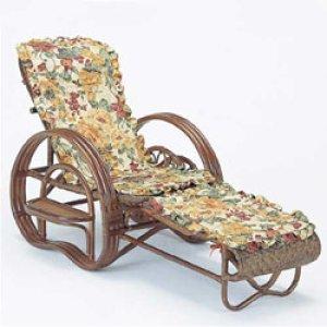 画像1: 籐 三ツ折寝椅子 ファブリックカバー付