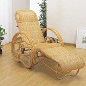 画像1: 籐 三ツ折寝椅子