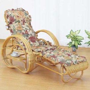 画像1: 籐 三ツ折寝椅子ファブリックカバー付