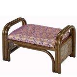 籐 ご仏前金襴座椅子 ロータイプ(紫色生地ダークブラウン色フレーム)
