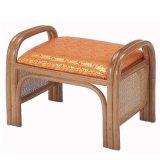 籐 ご仏前金襴座椅子 ハイタイプ(朱色生地ブラウン色フレーム)