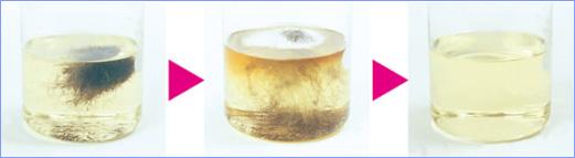 パイプの詰まりの大きな原因である髪の毛を15分程で溶かします。