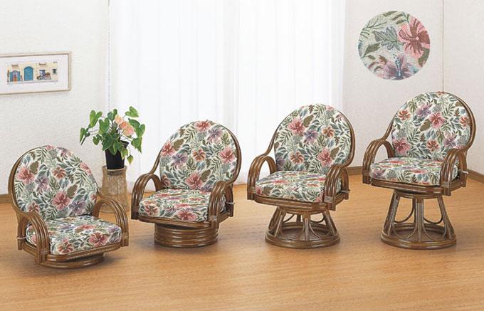 籐回転座椅子(ダークブラウン色)和室にも洋室にも似合う、ぬくもり感あるやさしい表情。クッション表地は重厚感のあるジャガード織。籐で涼しく、マットで暖かく、一年中使えます。用途に合わせて選べる座面高さ、取り外せるクッション付。