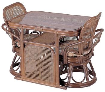 ラウンドチェアー&テーブル3点セットZ-802setイス脚部がテーブルの天板下に収まるコンパクト設計。